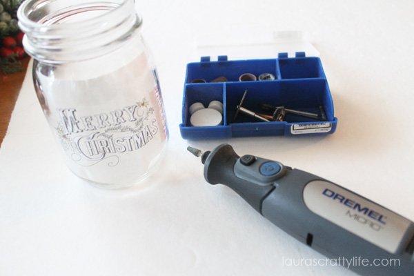 Prepare mason jar for etching