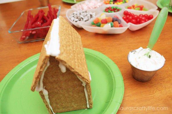 Set up gingerbread house making station