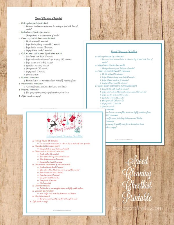 Speed Cleaning Checklist Printable
