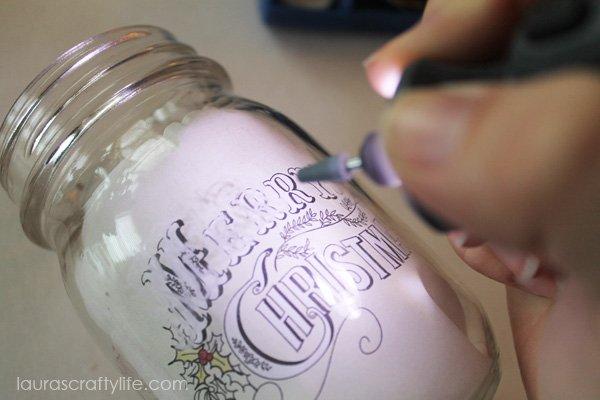 Use Dremel Micro 8050 to etch mason jar