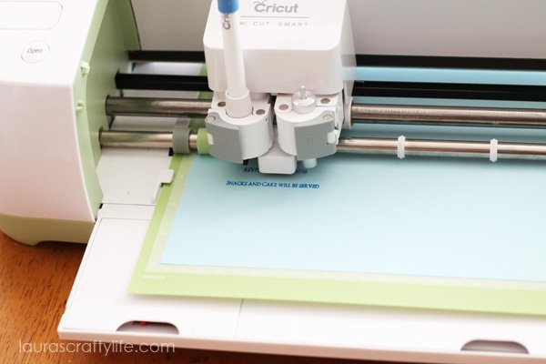 Use Blueberry Cricut pen to write invitation details