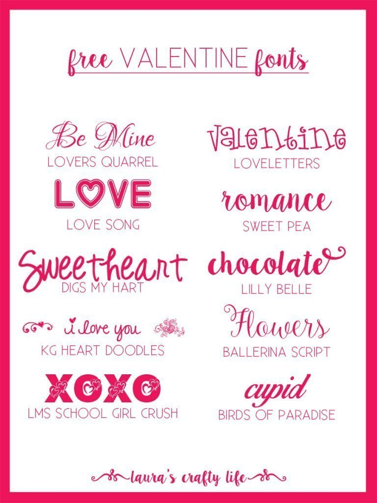 Free Valentine Fonts - Laura's Crafty Life