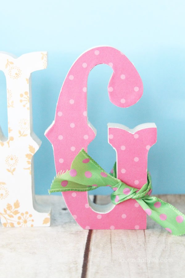 Add ribbon embellishment to letter