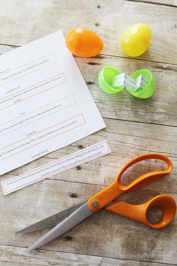 Cut out printable clues for Easter egg scavenger hunt