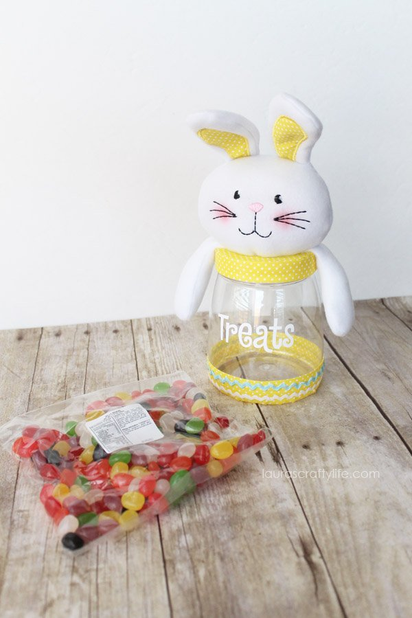 Easter Cutie Plush Treat Jar - Easter Bunny - Personal Creations