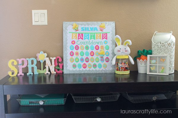 Easter display with personalized Easter countdown magnet board - Laura's Crafty Life