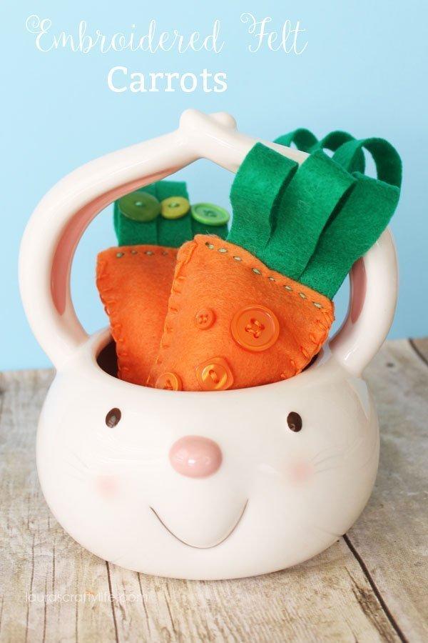 Embroidered Felt Carrots