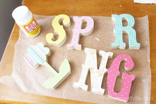 Letters with patterned paper added