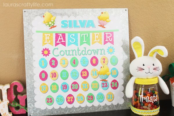 Personalized Easter countdown board with magnets and Easter cutie plush jar from Personal Creations