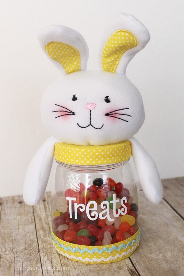 Personalized Easter cutie plush jar filled with treats