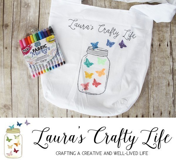 Personalized Logo Tote Bag with fabric markers - Laura's Crafty Life