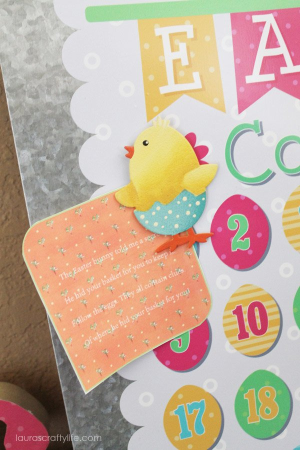 Pin Easter scavenger hunt clues to magnet board