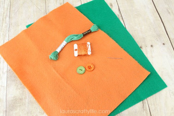Supplies needed for embroidered carrots