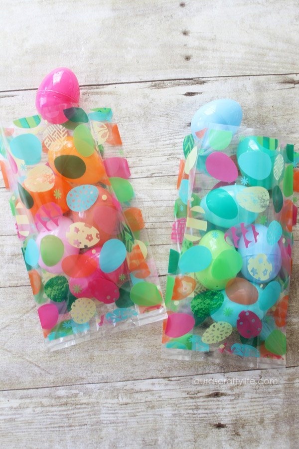 Use separate color(s) of plastic eggs for each child participating in Easter egg hunt