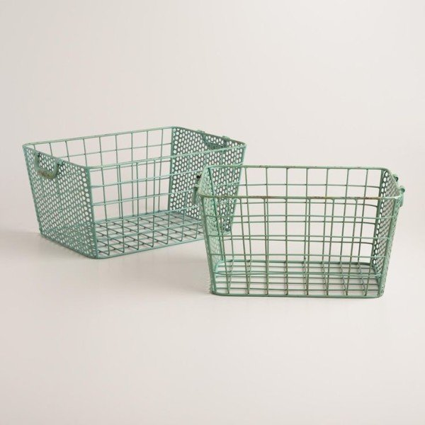 Blue Metal Jamison Storage Basket - World Market
