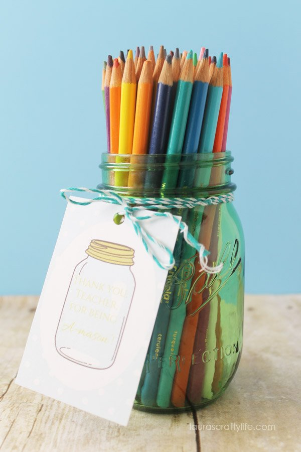 Colored Pencil Mason Jar Teacher Appreciation Gift