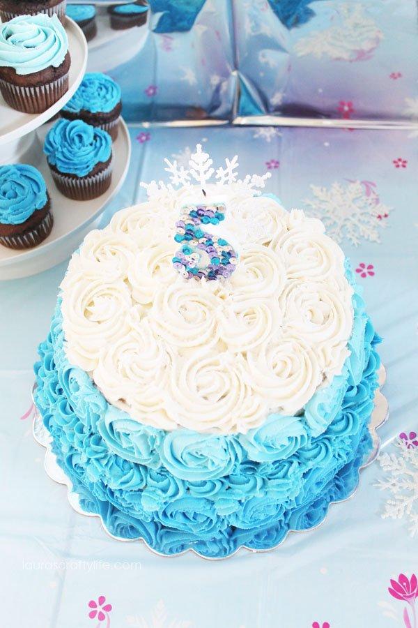 Disney Frozen Ombre Rosette Cake - Laura's Crafty Life