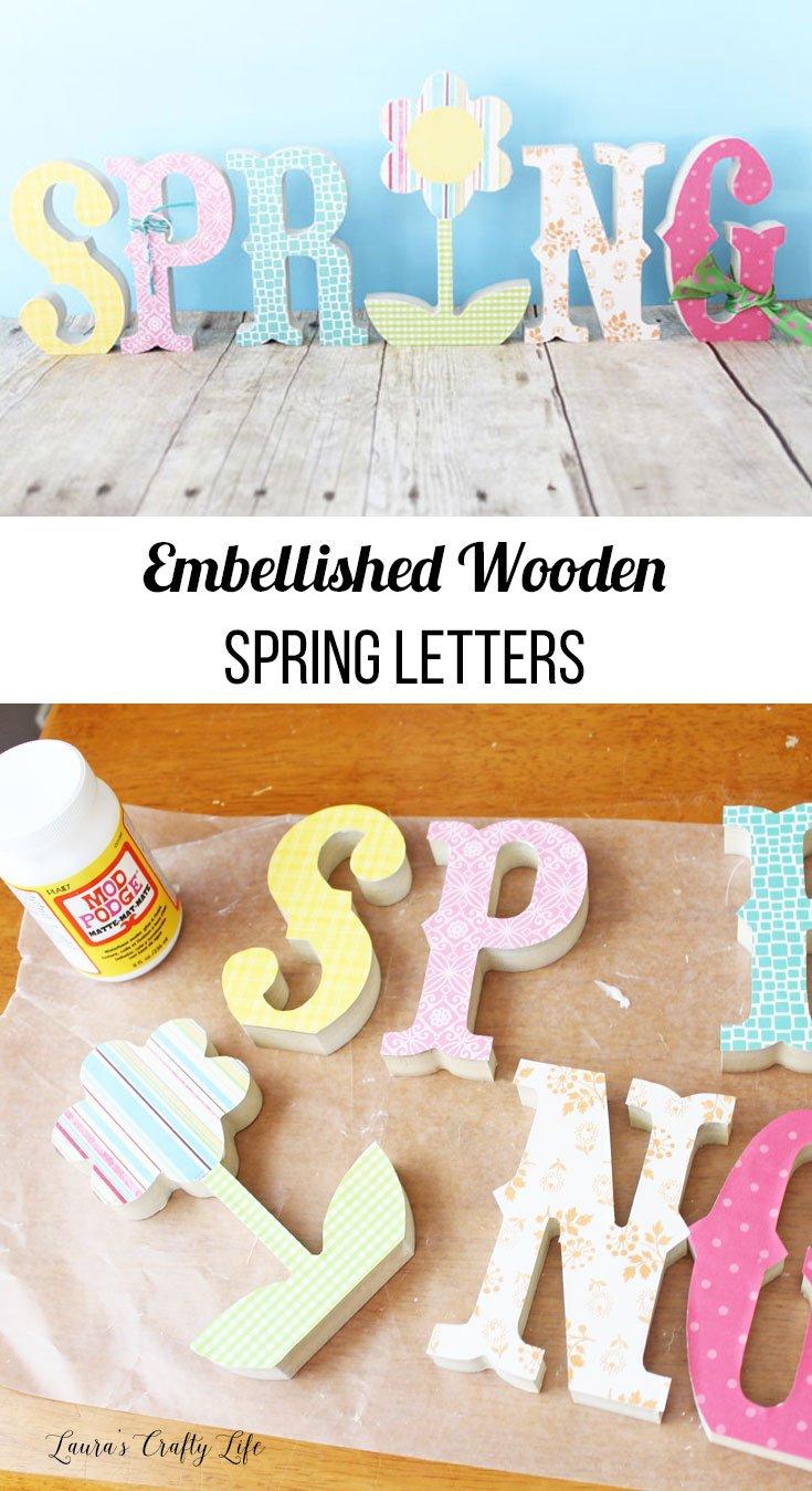 Embellished wooden spring letters