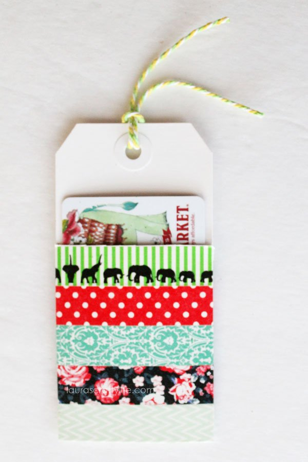 Gift Card Holder made from washi tape and tags