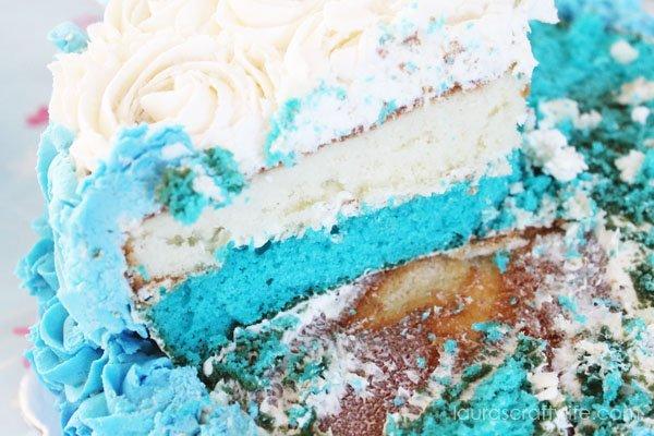 Layers of Frozen birthday cake