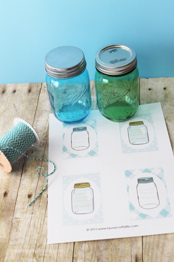 Mason Jar Teacher Appreciation Gift Supplies with a Free Printable