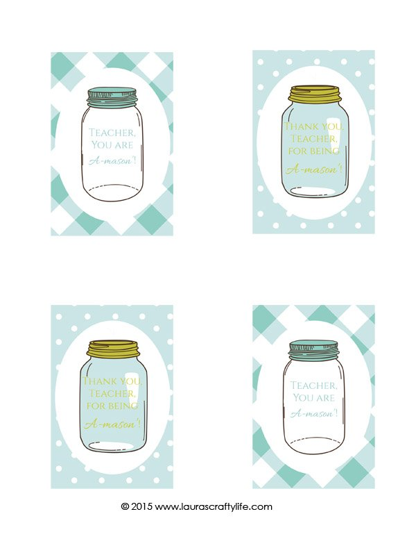 Mason Jar Teacher Appreciation Gift Tags