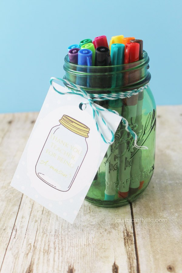 Sharpie Mason Jar Teacher Appreciation Gift - Laura's Crafty Life