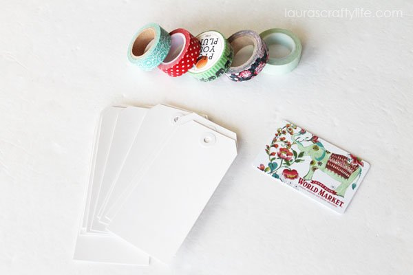 Supplies needed for washi tape gift card holders