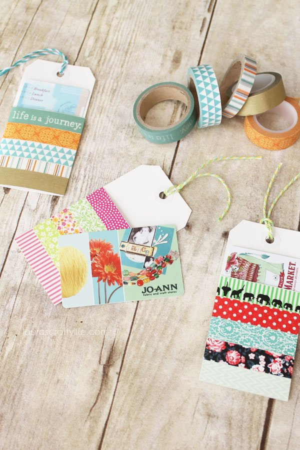 Use washi tape to create colorful and fun gift card holders
