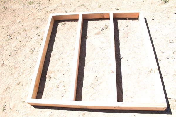 Bottom frame of floor of chicken coop