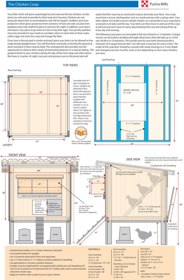 chicken coop plan by Purina Mills