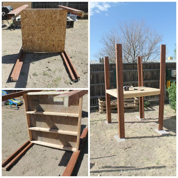 Chicken coop floor with uprights attached