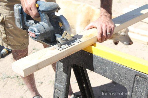 Cut boards using Ryobi circular saw