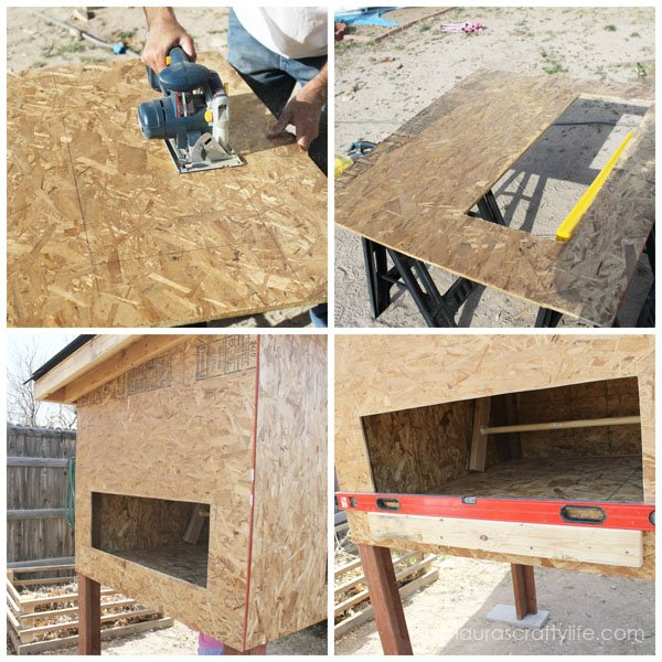 Cut hole and attach nesting box side panel to chicken coop