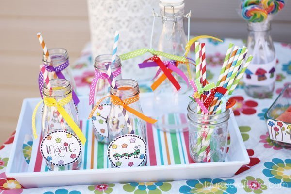 Fairy Party Printables to decorate milk jug glasses