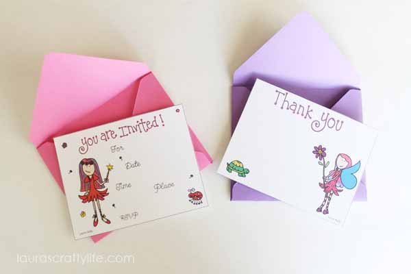Invitation and Thank You Card - Fairy Party Printable Collection - Shop Laura Kelly