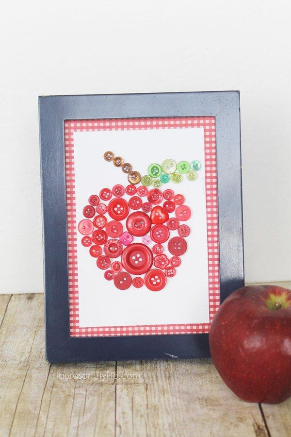 Apple Button Art Craft - Laura's Crafty Life