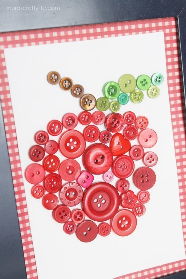 back to school apple button art close up
