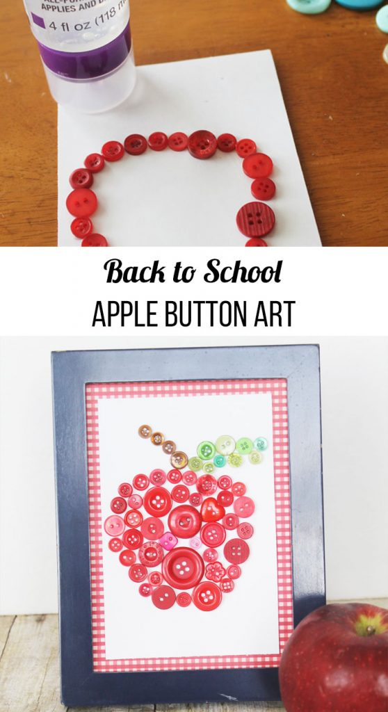 back to school apple button art