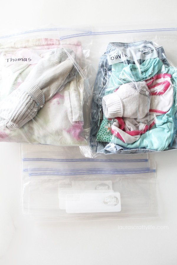 Change of clothes and extra ziploc bags for Road Trip Kit
