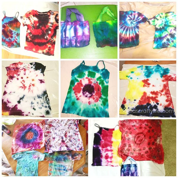 Finished tie dye projects from Tie Dye Party