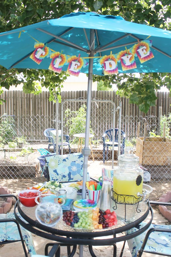 Food table at tie dye party
