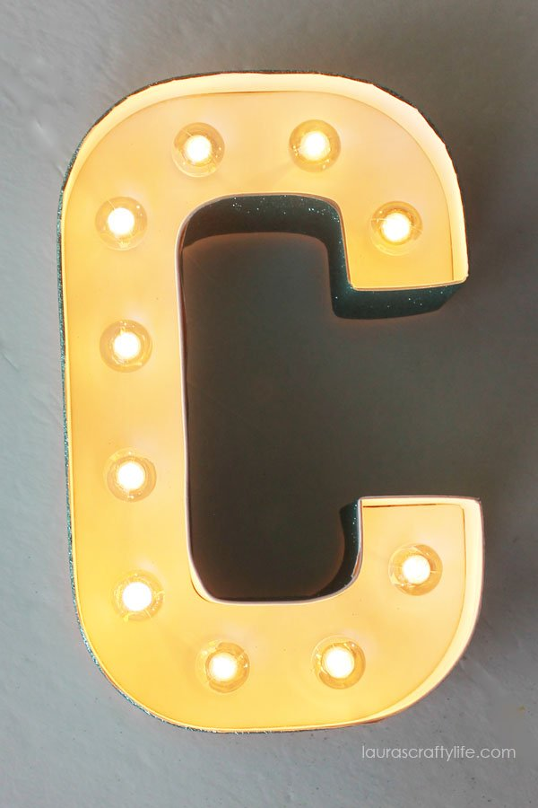 Heidi Swapp Marquee Love Letter C with Glitter Tape - lights on