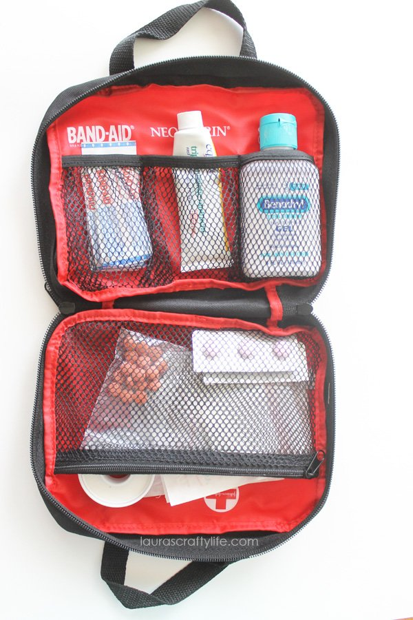 Inside contents of First Aid kit