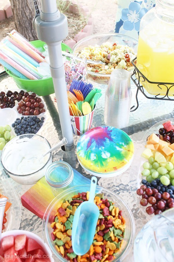 Rainbow food display for Tie Dye party