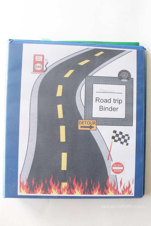 Road with Flames Road Trip Binder