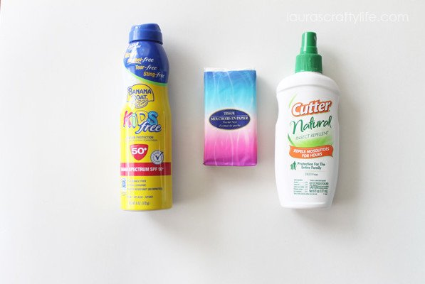 Sunscreen, tissues and bug spray for Road Trip Kit