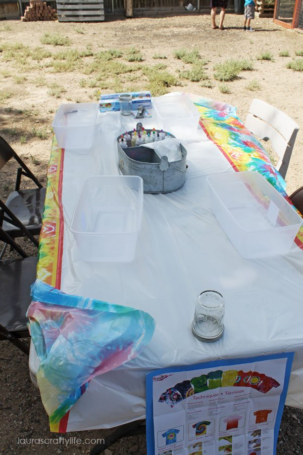 Tie dye table set up for Tie Dye Party