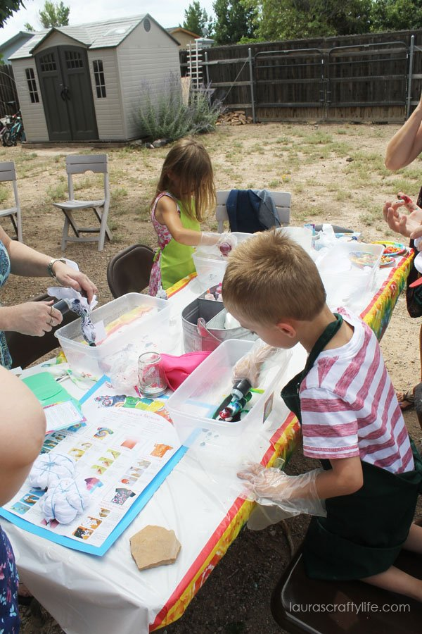 Tie dying at the tie dye party