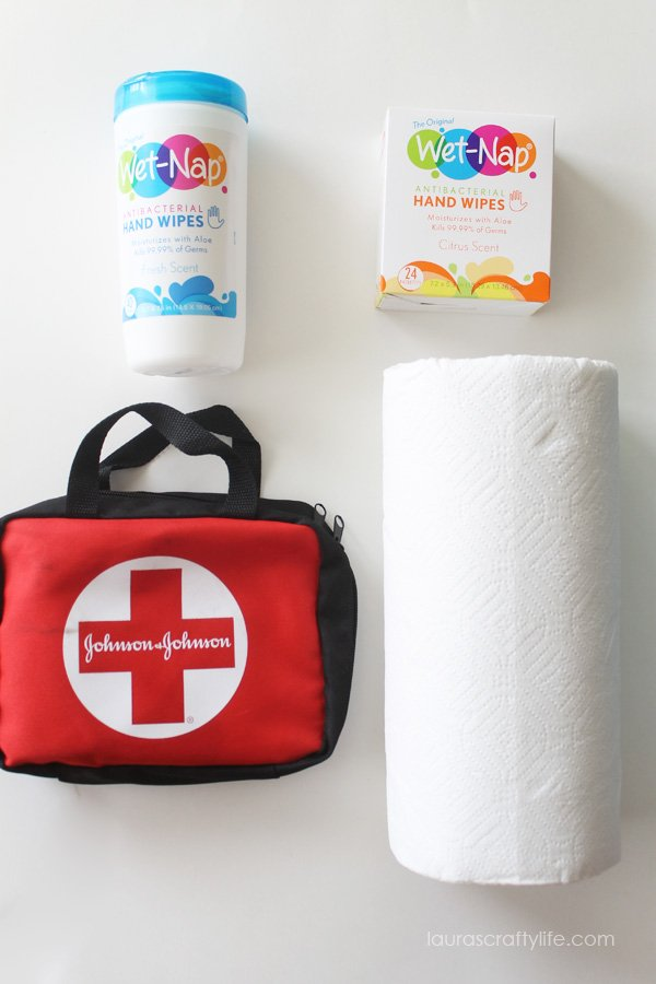 Wet-Nap® Cleansing Wipes, First Aid Kit and Paper Towels for Road Trip Kit